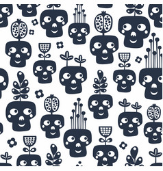 Seamless pattern with monochrome skulls with vector