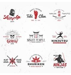 Set of japanese ninjas logo katana master vector