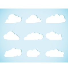 Set of paper clouds vector image vector image