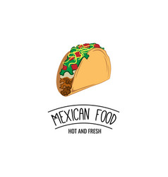 taco traditional mexican food label template or vector image vector image