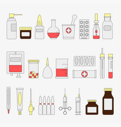 Trendy color flat medical and health care icon set vector