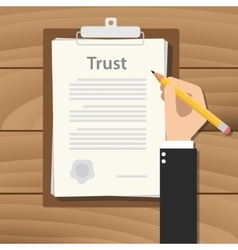 Trust concept agreement with hand hold pencil vector