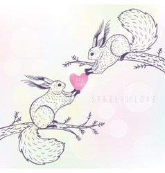 two cute squirrels vector image vector image