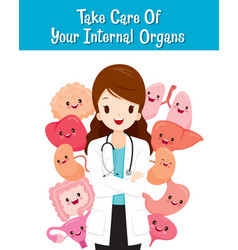 woman doctor with human internal organs cartoon vector image