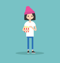 young cute girl chewing popcorn full length vector image vector image