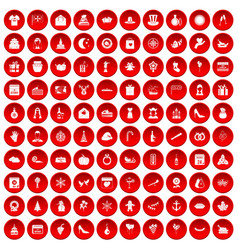 100 festive day icons set red vector