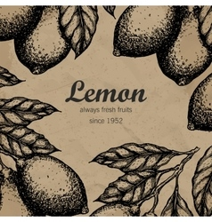 Lemon tree design template hand drawn lemon fruit vector