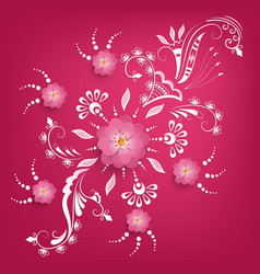Paper cut sakura flowers with mehndi vector