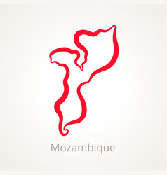 Outline map of mozambique marked with red line vector