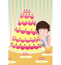 eating cake vector image