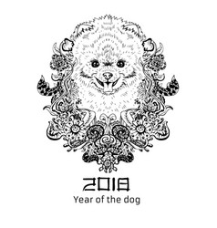 2018 zodiac dog new year design christmas vector