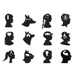 Men women children and pets thoughts in head vector