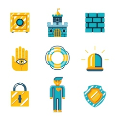 Colored safety and insurance icons vector
