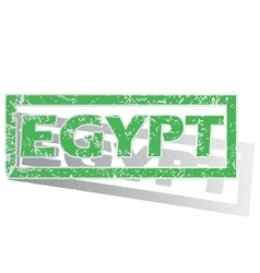 Green outlined egypt stamp vector