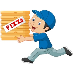 Cartoon a delivery man holding pizza vector
