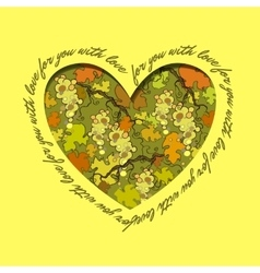 Love card heart design green grape and orange vector