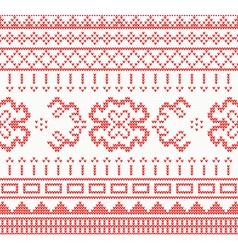 Knitted pattern with ornament vector