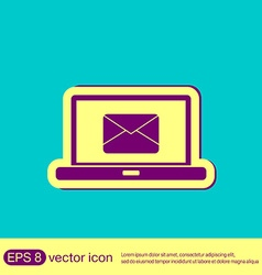 Laptop with letter envelope mail icon vector