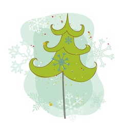 Vintage christmas tree card vector