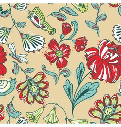 Floral seamless pattern with dragonfy vector