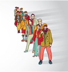 Group people standing in queue tail waiting flat vector