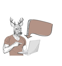 Hipster deer pointing at laptop screen against vector