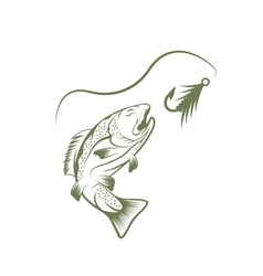 Trout and lure fishing design template vector