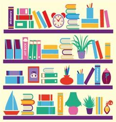 Background of books on the Bookshelves vector image
