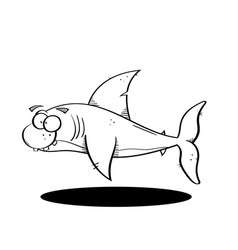Black line cartoon shark vector