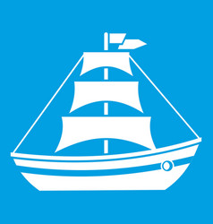 Boat with sails icon white vector