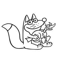 Cartoon fox caught a big duck and was sitting vector
