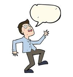 Cartoon man panicking with speech bubble vector