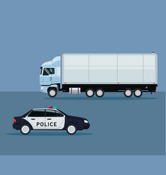 Color background with truck and police car vehicle vector