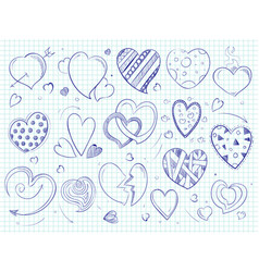 Cute doodle hearts love ball pen drawn vector