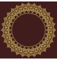 Damask round pattern orient golden ornament vector