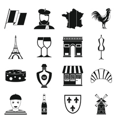 France travel icons set simple style vector