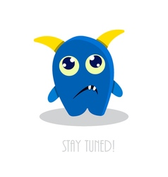 Funny sad cartoon monster vector