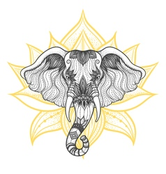 Head of a elephant boho design indian god ganesha vector