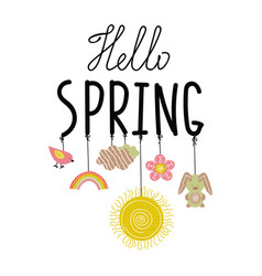 Hello spring handwritting phrase with ropes and vector