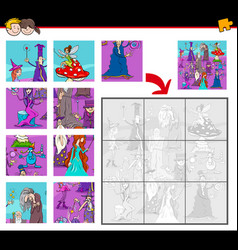 jigsaw puzzles with fantasy characters vector image vector image
