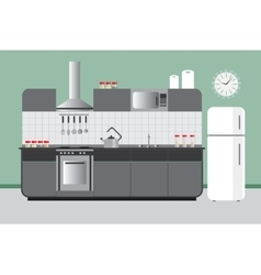 Kitchen elevation with cabinets fridge hood vector