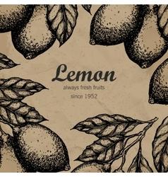 Lemon tree design template hand drawn lemon fruit vector
