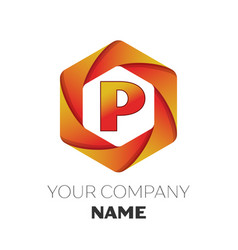 Letter p logo symbol on colorful hexagonal vector