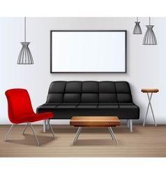 Modern urban interior mockup realistic poster vector