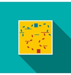 Paintball map icon flat style vector