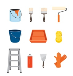 Painter tools objects icons set vector