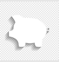 Pig money bank sign white icon with soft vector