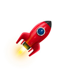 Rocket red icon 3d realistic object white vector