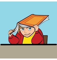 schoolboy Desk textbook vector image