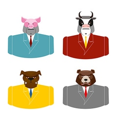 Set animals businessmen farm animals in costume vector